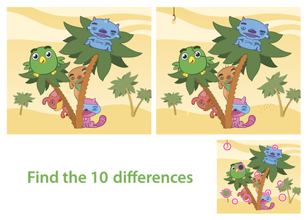 Spot the Differences Skill Game with Answer Image Vector