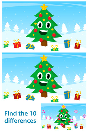 Kids puzzle with a happy Christmas tree Vector