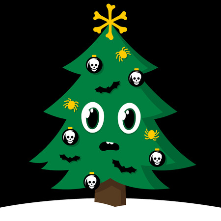 Spooky Christmas tree with Halloween decorations Vector