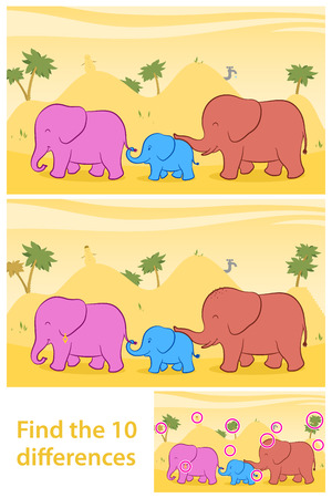 spot the difference: Printable game for preschool children meant to stimulate attention through funny learning as the task to find the differences between two illustrations of a cute family of elephants