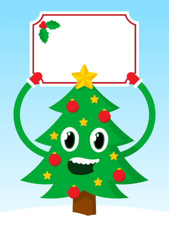 aloft: Happy green vector Christmas tree holding aloft a festive blank banner decorated with holly for your seasonal greeting, advertising, invitation or promotion on a snowy hill against blue sky