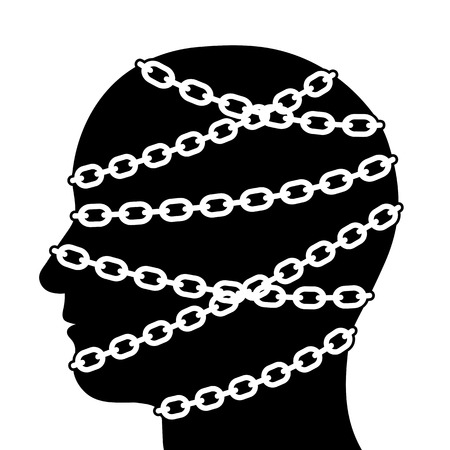 Close up Silhouette Human Head in Side View Isolated with Chains on White Background Illustration