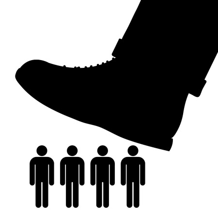 subjugation: Black cartoon vector silhouette of a large foot about to tramp a row of people conceptual of oppression, tyranny and exploitation Illustration