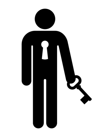 key hole: Conceptual black vector silhouette of the figure of a person with a lock in his chest holding a key depicting safety and security, or a prisoner sentenced for a crime