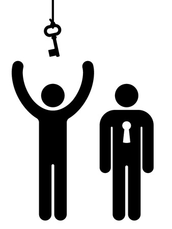 Person with lock and another trying to get key for communication Illustration