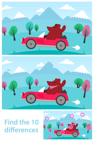Kids puzzle - spot the 10 differences or variations between two vector drawings of a cartoon bear driving a red sports car in the mountains, with the solution in a third variant, eps8