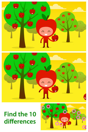 Two versions of vector illustrations with 10 differences to be spotted in a brainteaser for children in a kids puzzle of a funny apple character in an orchard