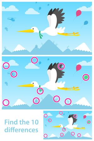 midair: Educational puzzle for young children with two vector variations of a flying stork with ten differences for them to find with a solution Illustration