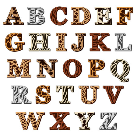 Capital letters of the Latin alphabet with animal print resembling the natural pattern of the skin and fur of wild animals, isolated on white
