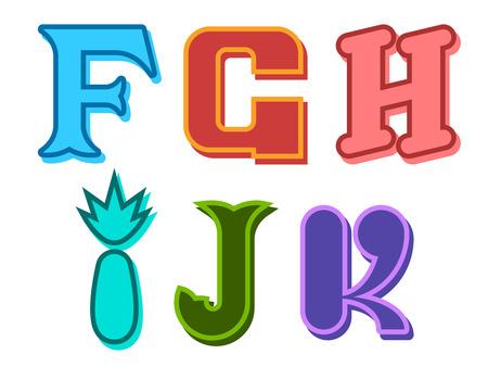 partial: F, G, H, I, J, K cobardes letras del alfabeto lindos en diferentes colores con diferentes formas para los ni�os, la educaci�n, el texto decorativo y scrapbooking, elemento de dise�o Vectores