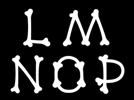 partial: Conjunto LMNOP de letras del alfabeto en may�sculas en la forma de los huesos blancos silueteado en negro adecuado para Halloween, horror o conceptos, elementos de dise�o m�dicos