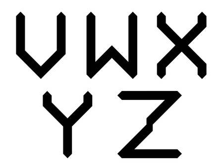 partial: VWXYZ geometric uppercase alphabet letters with angled edges and pointed ends in a partial set, black design element or typographical ornament isolated on white