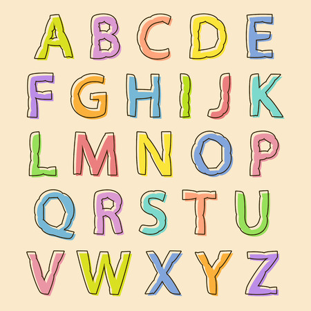bloated: Complete set of colored uppercase alphabet letters with bloated irregular wavy outline for decorative text and scrapbooking, design element Illustration