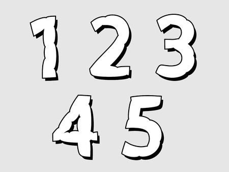 partial: 12345 set of numbers or digits with a bloated irregular distended design in white with a black outline and drop shadow on a grey background, design element