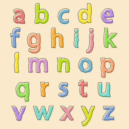 bloated: Complete set of colored lowercase alphabet letters with bloated irregular wavy outline for decorative text and scrapbooking, design element Illustration