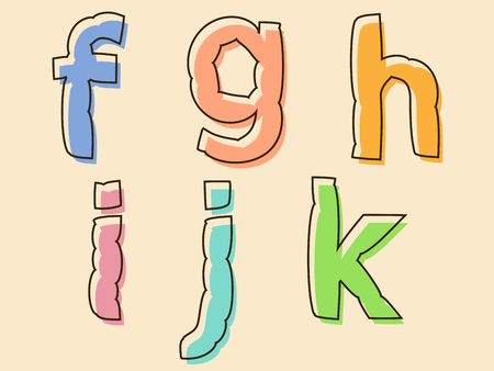 bloated: FGHIJK set of colored alphabet letters with bloated irregular wavy shape in lowercase font, decorative design element