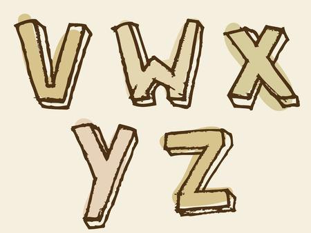 partial: vwxyz letra may�scula alfabeto te�ido conjunto con croquis dibujado a mano del doodle esboza para el texto tipogr�fico decorativos en tonos de marr�n Vectores