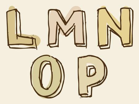 partial: LMNOP alfabeto letra may�scula manchada conjunto con croquis dibujado a mano del doodle esboza para el texto tipogr�fico decorativos en tonos de marr�n