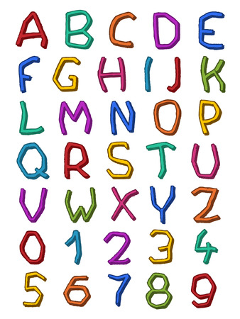 az: Complete colorful set of irregular alphabet letters A-Z and numbers or digits 0-9 with crooked shapes for decorative design and typographic concepts, illustration Illustration