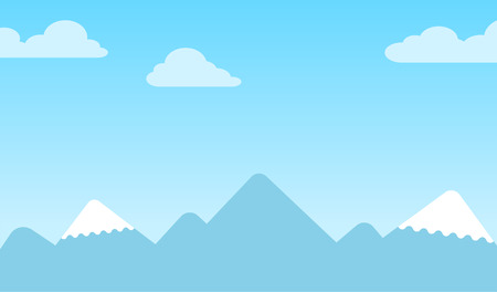 capped: Mountain background with silhouettes of snow-capped conical peaks under a blue sky with clouds Illustration