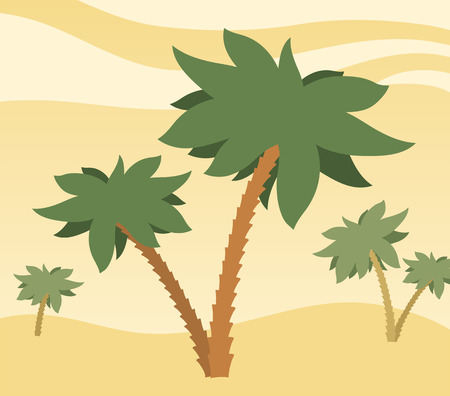 waterless: Sunny desert background with palm trees on rolling golden sand dunes under a hot sky, illustration