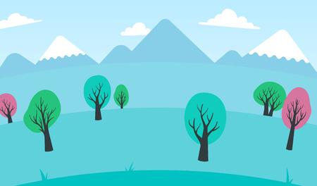 꼭대기가 눈으로 덮인: 무성 한 흰 구름과 푸른 하늘 아래 눈 덮인 산봉우리와 봄 풍경 다채로운 나무의 배경