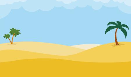 Sonnigen Wüste Hintergrund mit Palmen auf Roll goldenen Sanddünen unter einem heißen blauen tropischen Himmel