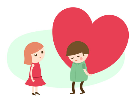 shy woman: Vector cartoon illustration of a cute young man giving a romantic big red heart to his sweetheart on Valentines Day as a declaration of his love, sentimental card design