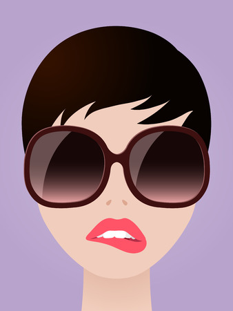 Cartooned Graphic Design of a Short Hair Woman with Eyeglasses Biting her Lips on Light Violet Background