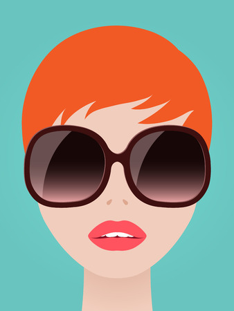 redhead woman: Pretty redhead woman with a neat short hairstyle wearing trendy large modern sunglasses over a blue summer sky, vector illustration