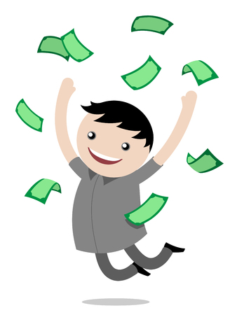joy: Young boy jumping for joy after winning money leaping in the air with a big grin with banknotes floating around him, vector cartoon illustration Illustration