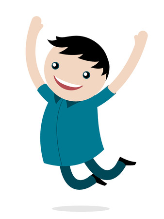 arms raised: Excited happy young boy jumping for joy smiling as he celebrates his freedom leaping into the air with his arms raised, vector cartoon illustration