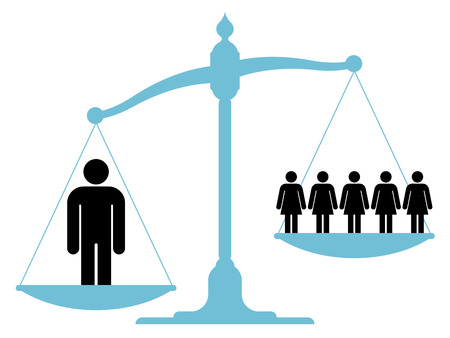 Scale or balance weighing a single man versus a group of women or business team to establish which carries more weight in respect of certain criteria in human resources, depicting sexism