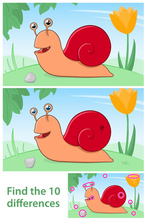 comparing: Kids puzzle comparing differences with a cute little cartoon garden snail with a red shell in two variations with 10 differences and a solution, vector illustration Illustration