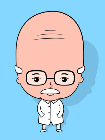 brainy: Elderly scientist cartoon character with a bald head wearing nerdy glasses standing with his hands in the pockets of his lab coat, vector illustration