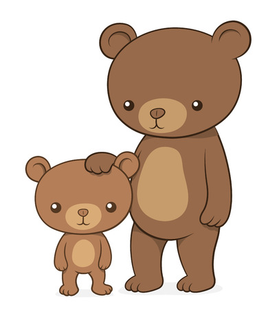 Brown bear with her cute little cub teddy standing upright with the mother family patting the baby on the head , cartoon vector design element, clipart on white