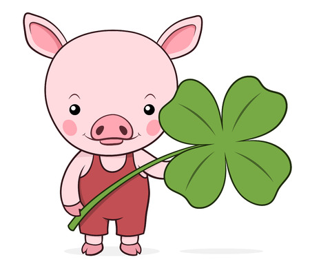 Cute baby pink piggy with a shamrock or four-leaf clover symbolic of St Patricks Day in Ireland and luck, vector cartoon illustration Vector