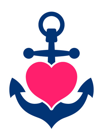 Blue marine or ships anchor with a pink heart symbolising love and romance, a honeymoon or Valentines cruise or a love of boating and yachting, vector illustration