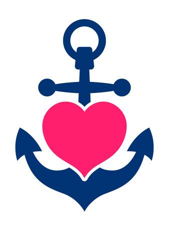 romance: Statki morskie lub niebieski z różowym kotwica serca symbolizujące miłość i romans, miesiąc miodowy lub Valentines rejs lub miłości łodzi i żeglarstwa, ilustracji wektorowych