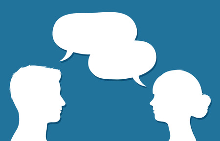facing: Male and female heads in conversation facing each other with overlapping speech bubbles conceptual of communication, discussion, teamwork, chatting or forums, vector design