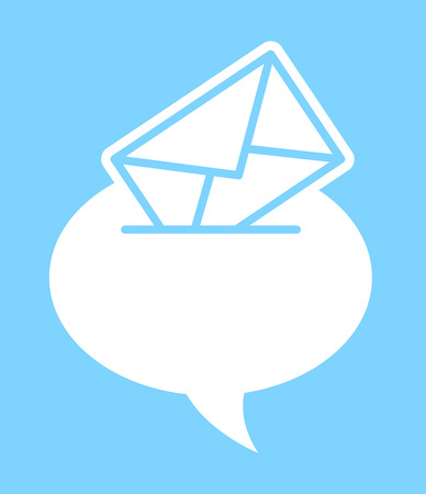 written communication: Speech bubble with an envelope conceptual of verbal versus written mail correspondence and communication, vector silhouette illustration on blue Illustration