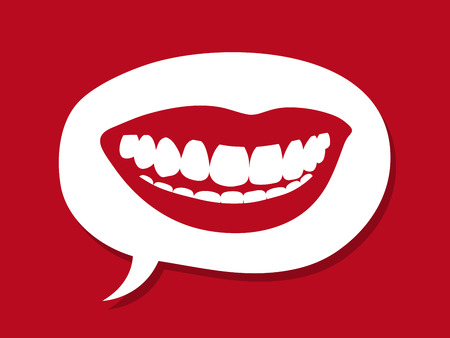 Sexy female mouth with luscious red lips and a toothy smile showing brilliant white teeth inside a speech bubble on a red background in a conceptual image, vector illustration