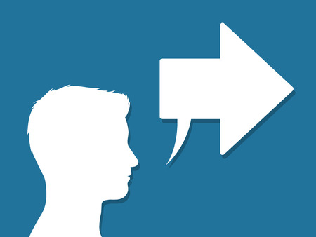 proceed: Male head silhouette in profile with a speech bubble and arrow pointing to the right in a conceptual vector illustration of communication and ideas