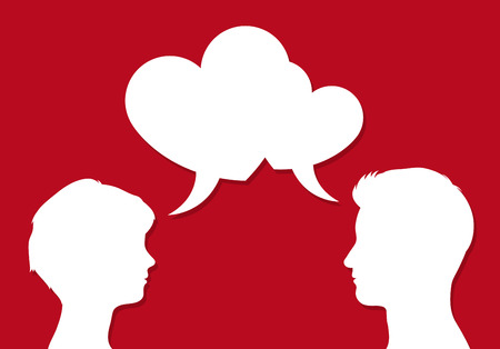 Male and female heads facing each other with overlapping heart shaped speech bubbles symbolic of romantic communication of people in love, on red, vector illustration