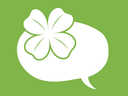 shamrock: st patricks day speech bubble balloon with clover or shamrock leaf depicting luck on green background Illustration
