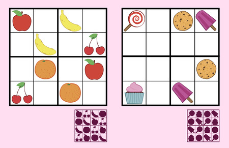 Childrens sudoku puzzle with colorful icons of sweets, nuts and fruit arranged in a grid with empty squares and a silhouette answer below, two different variations suitable for primary school or recreation Illustration