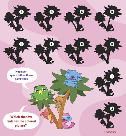 Cildrens cartoon puzzle to match the shadow of cute little animals hiding behind palm trees with ten variations of shadow to choose from, vector design Vector