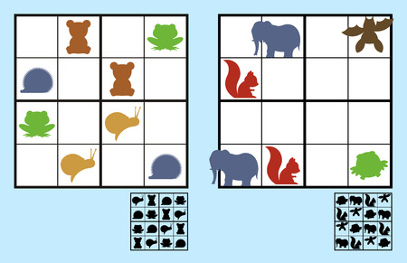 complete solution: Easy sudoku puzzle with colorful icons of animals such as elephants and bears suitable for primary school or recreation for children