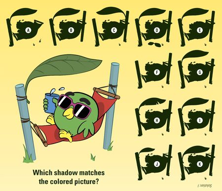 sunny beach: Educative game for children meant to stimulate attention through finding the matching shadow of a cartoon bird sunbathing in a hammock on a sunny beach
