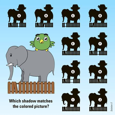 shadow match: Kids cartoon puzzle - match the shadow of a cute little green bird riding on the back of its friend the elephant above a wooden picket fence with ten variations of shadow to choose from, vector design